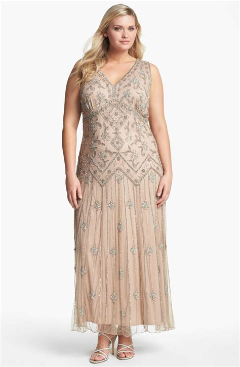 Pisarro Nights Beaded Mesh Gown In Pink Blush Lyst