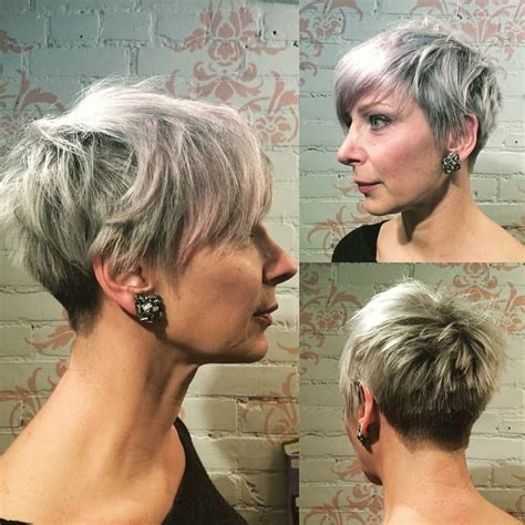 swoopy men hairstyles women s platinum silver pixie with feathered texture and
