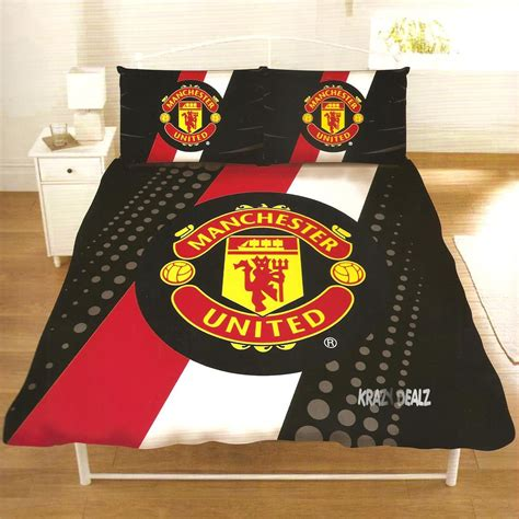manchester united mufc stripe double duvet cover bed set