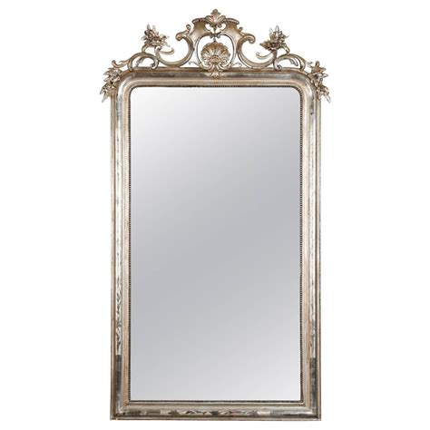 beaded mirrors large silver leaf louis philippe mirror with elaborate