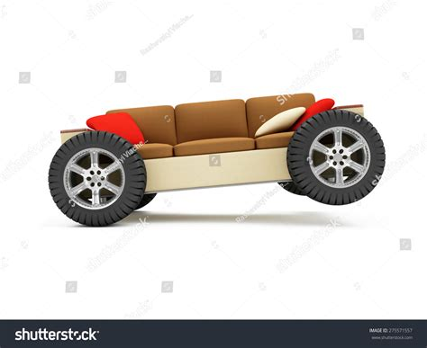 couch on wheels moving new residence furniture transportation concept
