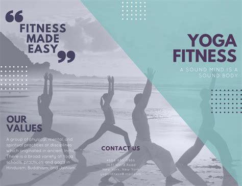 canva yoga poster aqua collage image yoga fitness trifold brochure