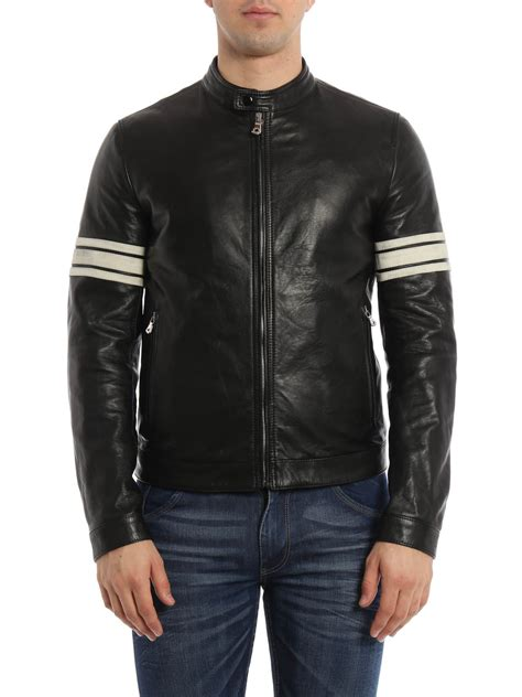 striped sleeves leather jacket by dolce gabbana