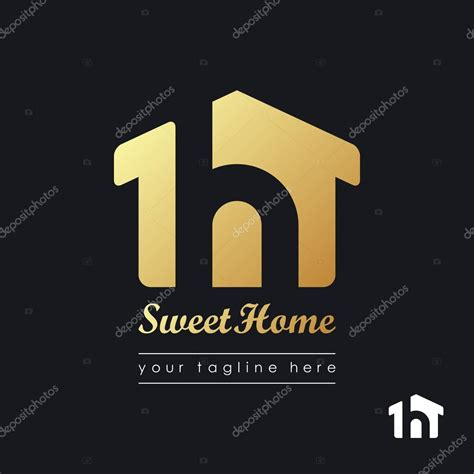 house beautiful logo house logo template beautiful house of gold color on a