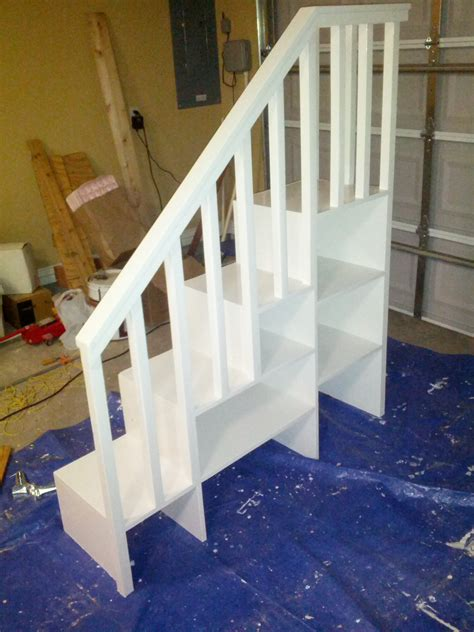 How To Make A Bunk Bed With Stairs White Classic Bunk Bed With Sweet Pea Stairs Diy Projects