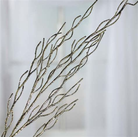 green glittered artificial twig branch picks and stems