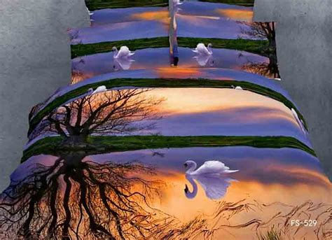 seagull 3d 100 cotton bedding set cover 4pc home use oil painting swan bed set dolphin jpg