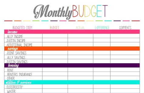 blank printable budget planner 5 budget planner printablereport template document