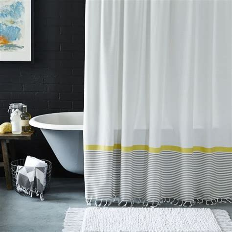 white shower curtain with black border stripe border shower curtain stone white citron west elm