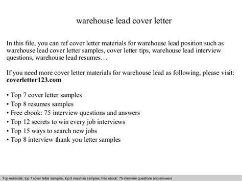 warehouse position cover letter warehouse lead cover letter