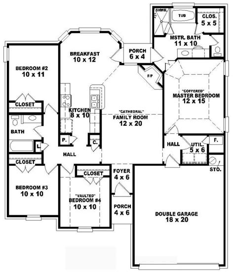 4 Bedroom Floor Plans One Story by One Story 4 Bedroom 2 Bath Traditional Style House Plan
