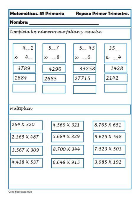 problemas de matematicas para cuarto de primaria gratis ejercicios de matem 225 ticas para quinto de primaria