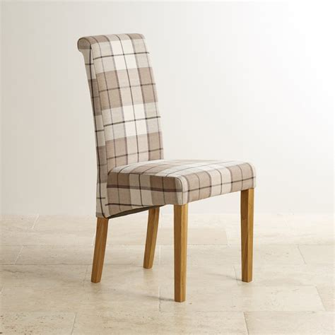 Oak Furniture Land Dining Chairs Scroll Back Chair With Solid Oak Legs Check Brown Fabric