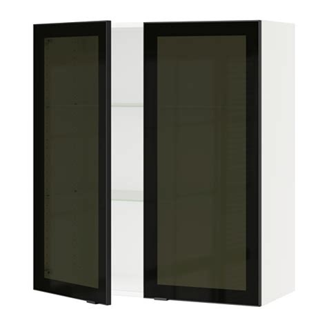 Smoked Glass Kitchen Cabinet Doors Sektion Wall Cabinet With 2 Glass Doors White Jutis Smoked Glass Black 36x15x40 Quot Ikea