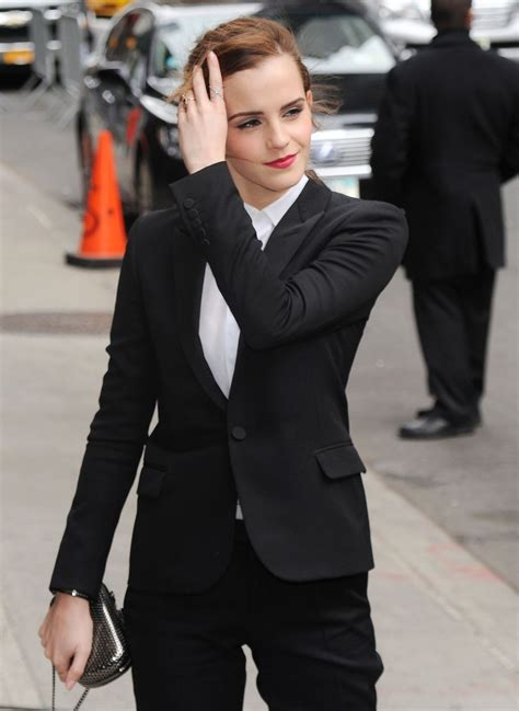 emma watson  fitted trouser suit arriving   late
