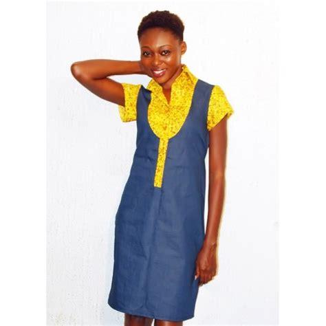 Denim Mix Dress denim and ankara mix dress