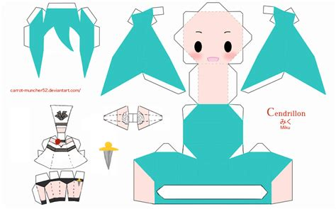 Miku Papercraft - cendrillon miku papercraft by carrot muncher52 on deviantart