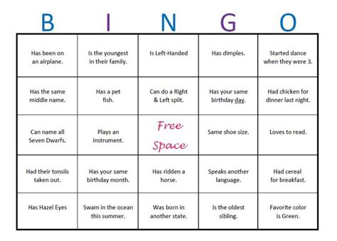 icebreaker template breaker bingo template elementary search