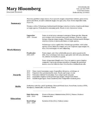Basic Resume Templates Simple Resume Template Tryprodermagenix Org
