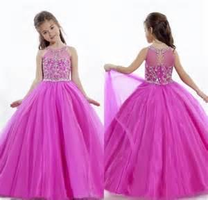 2015 lovely fuchsia princess flower girl dresses girls frock designs