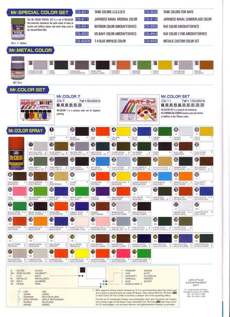 81 gunze sangyo mr color chart mr colour gunze solvent based acrylic paints 10ml c301 to