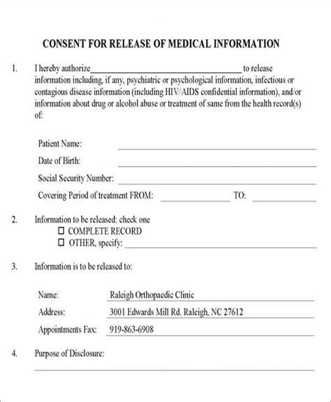 9 Release Of Medical Information Form Sles Sle Templates Release Of Information Form Template