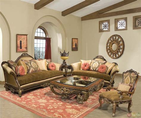 Ornate Living Room Furniture by Sicily Ornate Carved Solid Wood Antique Style Sofa Set
