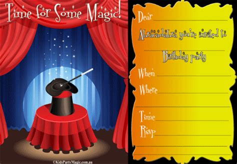 free printable birthday invitations magic theme magic party invitations kids birthday party invites