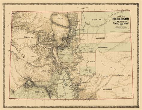 colorado territory map state map colorado territory gold region 1862