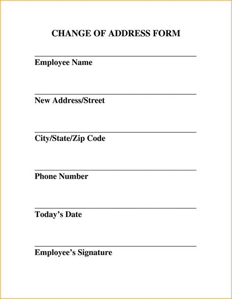change of address letter template free address change form template