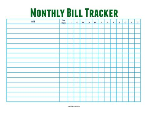 monthly bill tracker from merelynne merelynne by