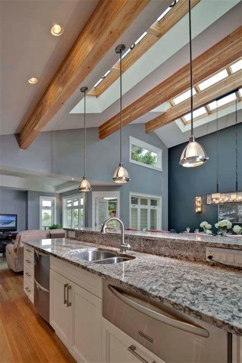 kitchen with sloped ceiling modern kitchen kitchen with vaulted ceiling and skyroof contemporary