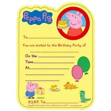 1 92532peppainvitepop Party Ideas Peppa Pig Peppa Pig Invitation Template
