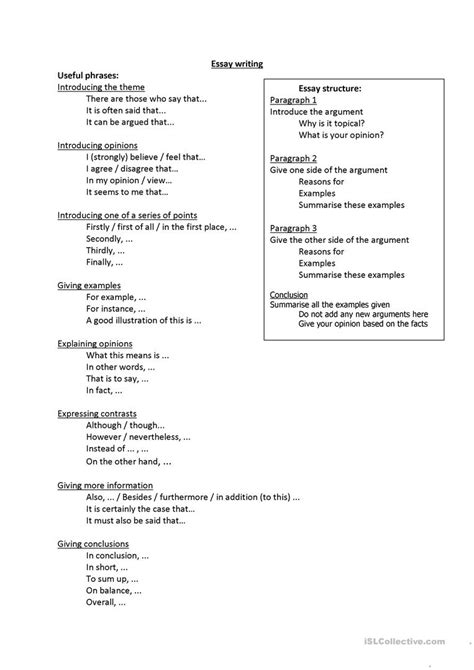 Useful Phrases For Writing Essays by Useful Phrases For Essay Writing Worksheet Free Esl Printable Worksheets Made By Teachers