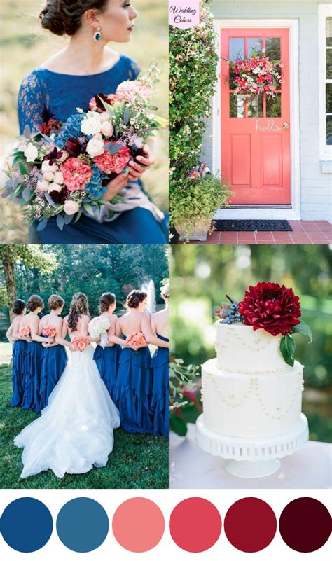 Wedding Colors by A Royal Blue Coral Cranberry Wedding Palette Wedding