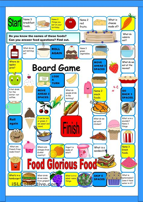 printable games english grammar board game food free esl worksheets creative e l t