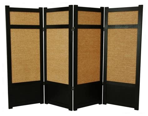 low jute shoji screen in black w woven panels