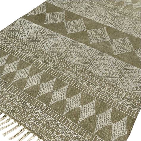 cotton dhurrie rug 3 x 5 4 x 6 ft green cotton block print accent area dhurrie rug woven flat weav