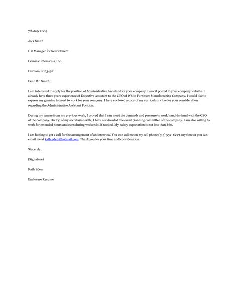 administrative support cover letter for position sle assistant cover letter for