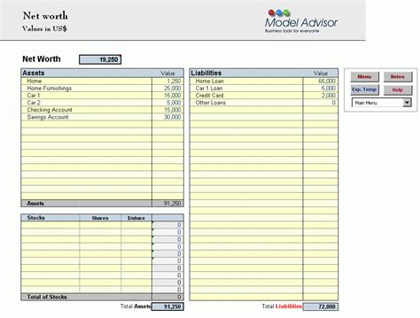 net worth template net worth worksheet excel abitlikethis