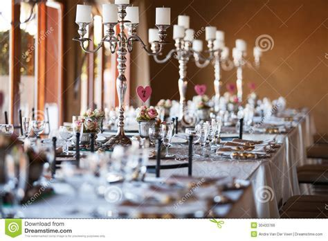 Decorated Tables With Candelabra At Wedding Reception