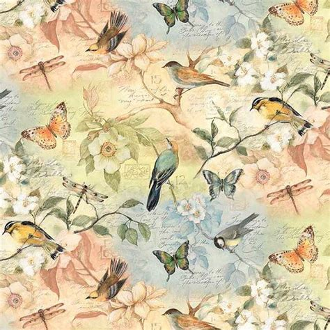 Bird Quilting Fabric by Susan Winget Birds Of A Feather Scenic Cotton Fabric