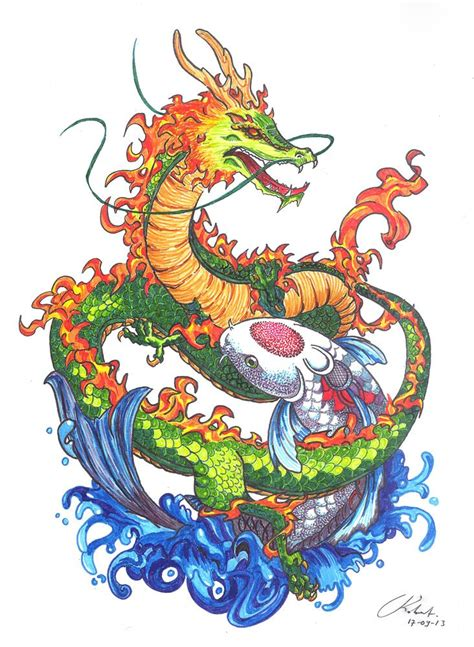 pen dragon tattoo drawing art quot dragon vs koi quot connector pen faber castell