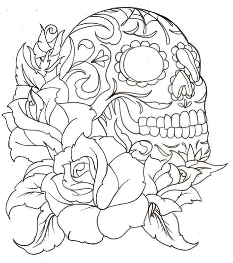 sugar skull tattoo with roses sugar skull coloring page coloring home