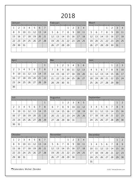 Kalender Tot 2018 Kalenders Om Af Te Drukken 2018 Datum De Maand Belgi 235
