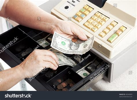 How To Open Register Drawer by Horizontal View Open Register Drawer Stock Photo