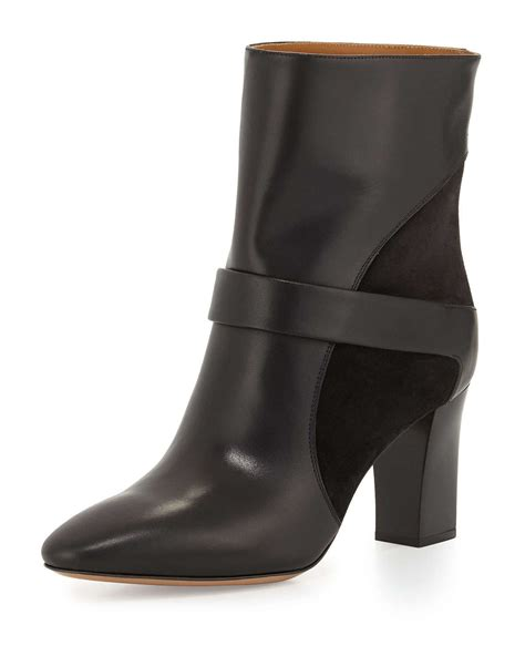chlo 233 leather chunky heel boot in black lyst