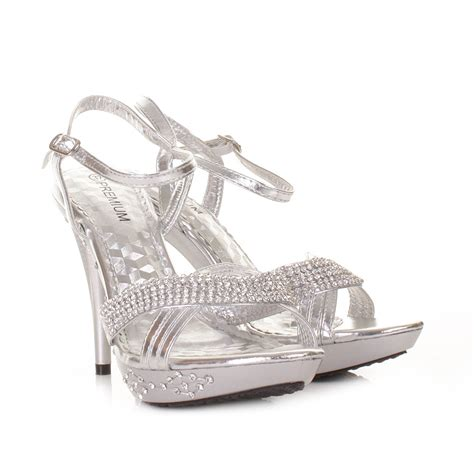 silver high heel prom shoes silver high heel diamante prom wedding embellished