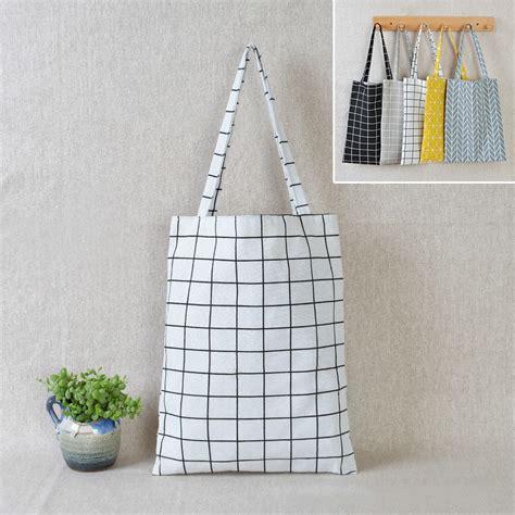 Tote Bag Batik Kotak Kotak swd tas bahu tote belanja motif kotak kotak bahan linen