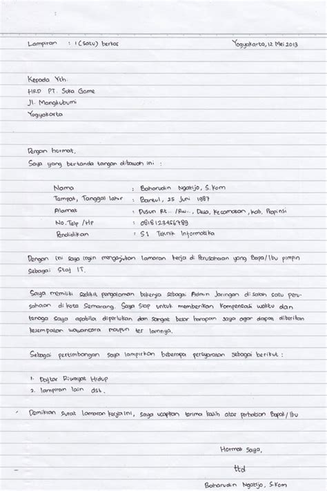 Contoh Surat Lamaran Di Kejaksaan by Contoh Lengkap Surat Lamaran Kerja Tulis Tangan Terbaru